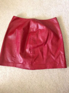 Danier red leather skirt - size 8
