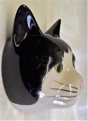 QUAIL BARNEY BLACK & WHITE CAT WALL VASE POCKET - ANIMAL FIGURE MODEL ORNAMENT