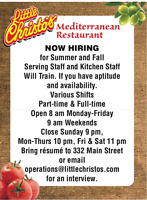 Servers and kitchen staff- full and part time available