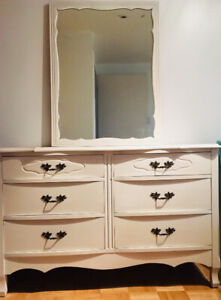 White French Provincial Dresser with Mirror