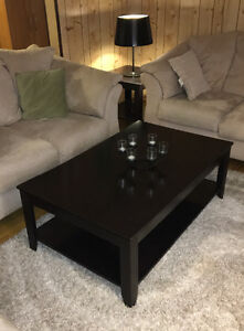 Dark Brown Coffee Table and Two End Tables