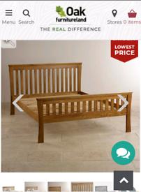 Oak Furniture Land Orrick Rustic Solid Oak Double Bed Frame