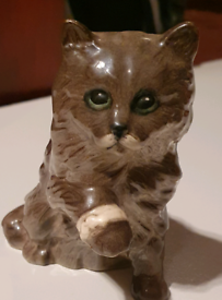 Royal Doulton Brown Cat With Bandaged Paw Gloss Finish ornament