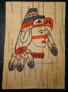 ABORIGINAL ART ORIGINAL DRAWING ON BIRCH BARK-RON SOLONAS-1997