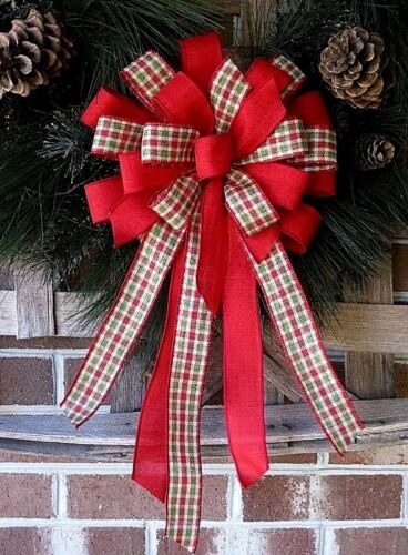 RED CHECK WIRED BOW WREATH SWAG GARLAND MAIL  FENCE POST # 61