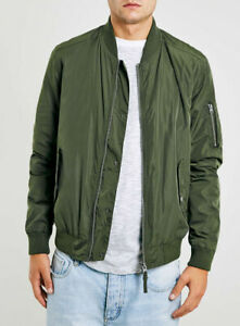 TOPMAN Men's Green Khaki Bomber Jacket Medium