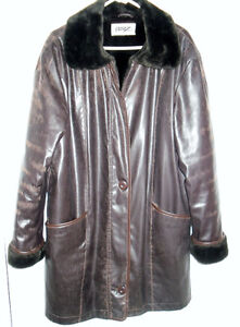 Very Warm BORGE lined faux Leather 3/4 length winter coat