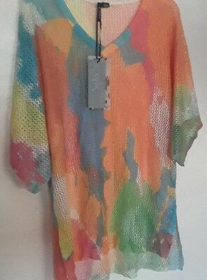 Women's size M Net Beach cover up NWT colorful or Net Sweater by Ethyl co60