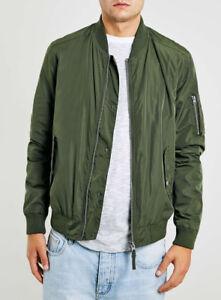 TOPMAN Men's Green Khaki Bomber Jacket Medium