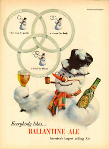 1947 Full page (10 ¼ x 14) color magazine ad for Ballantine Ale