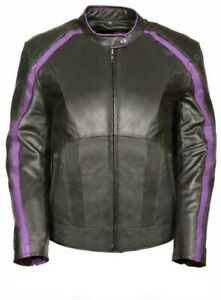 Ladies Leather Motorcycle Jacket - Black and Purple