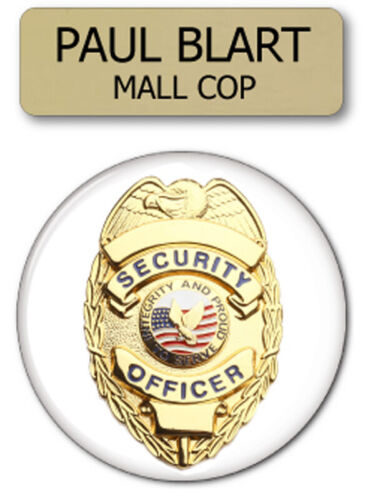PAUL BLART MALL COP 2 PC NAME BADGE & BUTTON PROP HALLOWEEN COSTUME PIN BACK