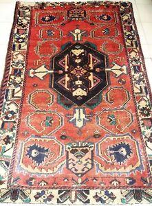 A Nice Persian Handmade Rug,Vintage,Red,Dark Navy,Beige