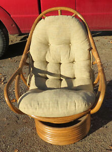 Cream Cushion Rattan Swivel Chair