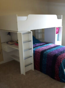 Solid White Loft style Bunk Bed with desk and shelves