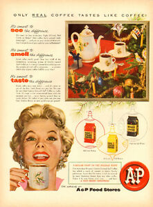 1954 full-page color magazine ad for A&P Coffee