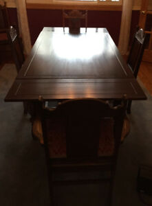 Antique Mission Style Dark Oak Dining Room Suite Set