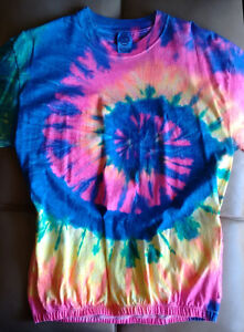 Custom tie-dyed short sleeve cycling jersey t-shirt L (NEW wot)
