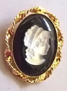 Black Onyx/Crystal Mother of Pearl Cameo Brooch