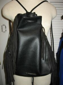 Victoria's Secret black fringe sling bag backpack NEW