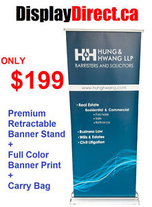 Deluxe Premium Retractable Pull Up Banner + Full Color Print