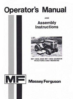 Massey Ferguson Mf 1655 1855 Mf1655 Mf1855 Garden Tractor Mower Operators Manual