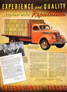 "Annonce ""International Trucks"" couleurs 1938, 14x11''"