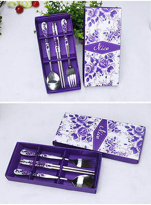 - Chinese Stainless Chopstick Set With Fork And Spoon Packed In A Wrapped Gift Box