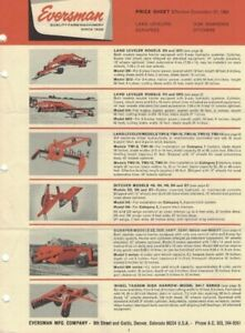 1965, EVERSMAN PRICE SHEET, DITCHERS, LAND LEVELERS, 6 PAGES