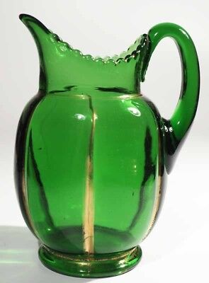Riverside Glass Works No. 462  X-RAY - Pitcher - Green with Gold, used for sale  Shipping to Canada