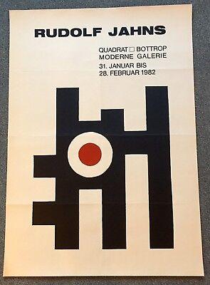 Original-Ausstellungsplakat Rudolf Jahns, Bottrop, 1982, Quadrat