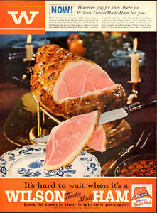 1954 full-page (10 ¼ x 14) color magazine ad for Wilson's Ham