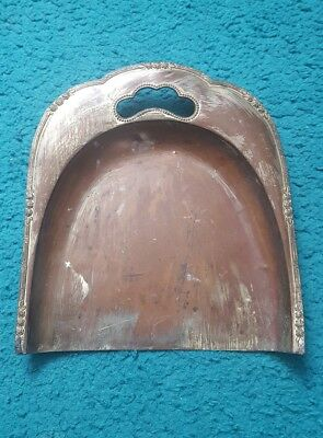 A VINTAGE ANTIQUE  ART NOUVEAU SILVER ON COPPER TABLE DUST PAN