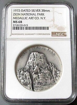 1972 Zion National Park Medallic Arts Co Medal Ngc Mint State 68