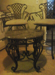 WROUGHT IRON MARBLE TABLE/COUNTER CHAIRS BISTRO PATIO SET