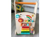 Wooden baby walker & colourful blocks