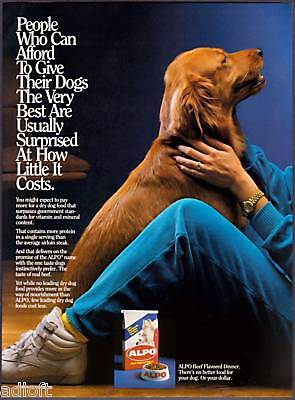 1987 Golden Retriever Photo Alpo Dog Food print ad