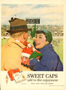 1955 full-page magazine ad for Sweet Caporal Cigrettes