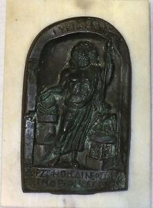 "Roman Bronze Slate (Replica) of Hercules on a Marble Tile 8""x6"""