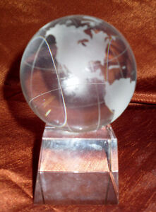 Heavy Glass world globe on stand