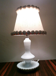 Vintage Milk Glass Hobnail Table Dresser Lamp