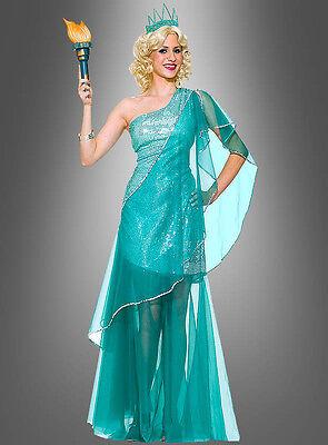 Tüllkleid Freiheitsstatue Damenkostüm USA Kostüm Länderkostüm (Usa Kostüm)