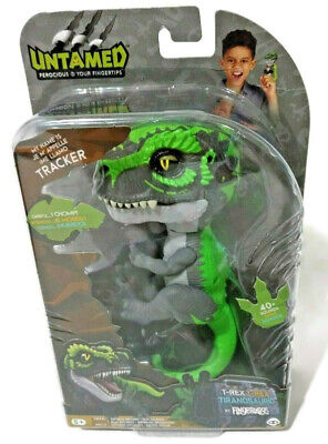 Untamed T-Rex Tracker Green Dinosaur Fingerlings WowWee Interactive Collectible