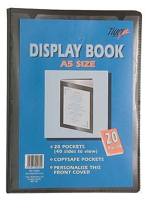 A5 Premium Black Cover Display Book Presentation Folder Portfolio - 20 Pocket