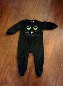 Black Cat Fleece One Piece - 18-24 months Halloween
