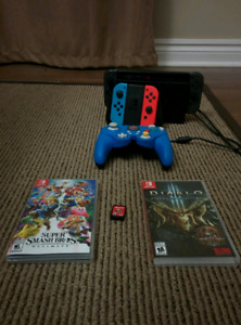 Nintendo Switch w/ 3 games, extra paddles and a GameCube style L