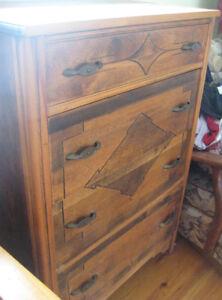 Antique four drawer wooden dresser