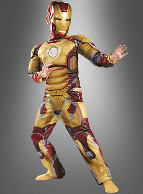 Iron Man 3 Muskelkostüm für Kinder Superheld mit Maske Kinderkostüm (Kind Iron Man Kostüm)