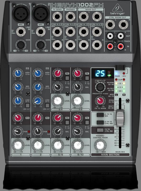 A Behringer Xenyx 1002FX audio mixer