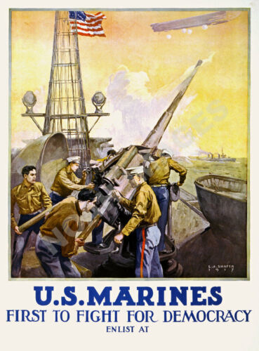 US Marines First to Fight for Democacy vintage poster 18x24